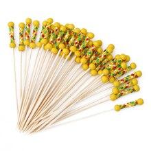 100 шт./упак. одноразовая бамбуковая Еда выбирает фруктовая вилка палочки буфет для капкейка-Коктейльное вилки свадебные украшения праздничного стола