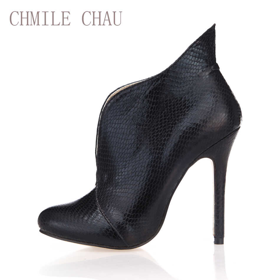 CHMILE CHAU สีดำงูเซ็กซี่รองเท้าผู้หญิงรอบ Toe Stiletto รองเท้าส้นสูงสุภาพสตรีรองเท้า Zapatos Mujer 0640CBT-i3