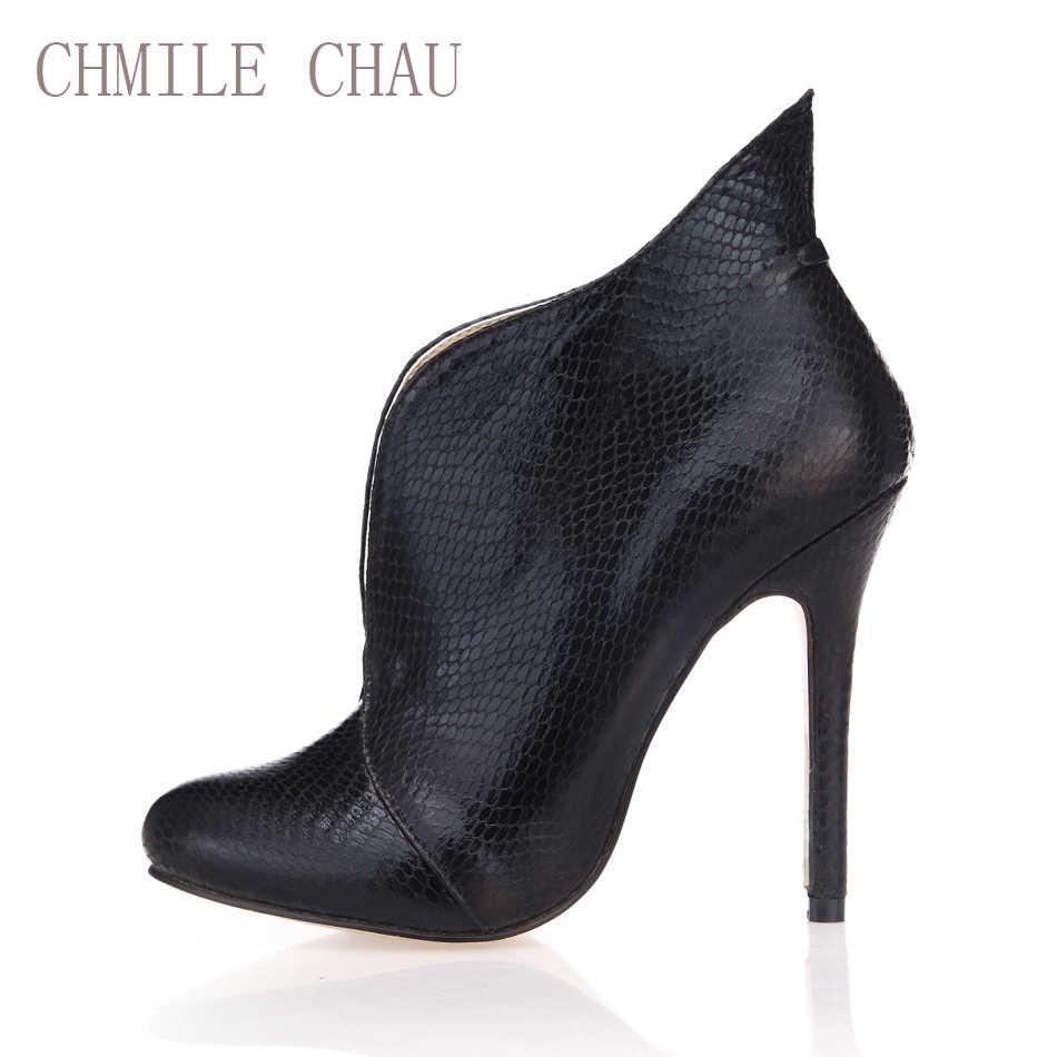 Chmile Chau Black Snake Sexy Party Schoenen Vrouwen Ronde Neus Stiletto Hoge Hakken Eenvoudige Dames Enkellaars Zapatos Mujer 0640CBT-i3