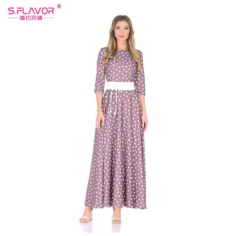 S. FLAVOR фиолетовый цвет точка волна ретро длинное платье 3/4 рукав тонкий Для женщин Платья для вечеринок Элегантное платье с О-образным вырезом Зимние Платье Vestidos De Festa