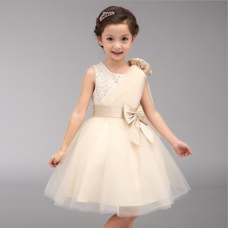 4-14 Years Girls Wedding Party Dress Bow Festival Elegant Princess Flower Girls Vestidos 2017 New Arrival Kids Clothes SKF154030