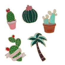 European and American Jewelry 2018 New Creative Set Brooch Plant Cactus Pot Dropping Oil Brooch Emblem цена 2017