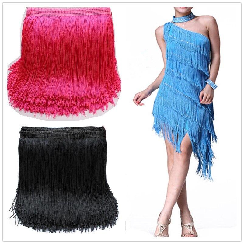 10 Yard/Lot Latin Fringe Tassel Lace Samba Dance Dress Macrame Single Banded Trimming Lace Polyester 14-28CM Long