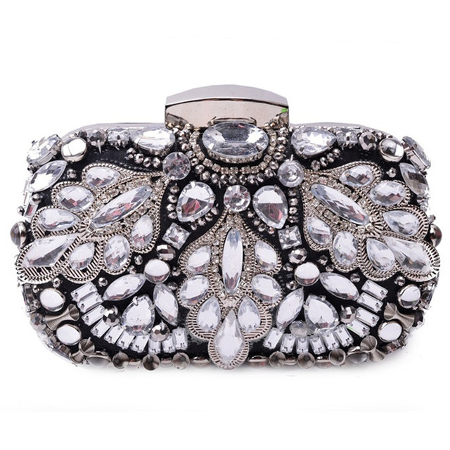 Crystal Heavry Beads Diamond Evening bag, Three-dimensional Party bag purse handbag clutches bags Bridal Pouch Hard Case