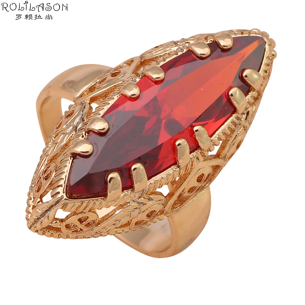 ROLILASON Royal Garnet Rings for women Gold Tone Nickel Lead Free