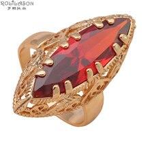 Rolilason real garnet anéis para mulher ouro tom níquel chumbo livre moda jóias enorme zircão vermelho cristal anéis eua sz jr2026