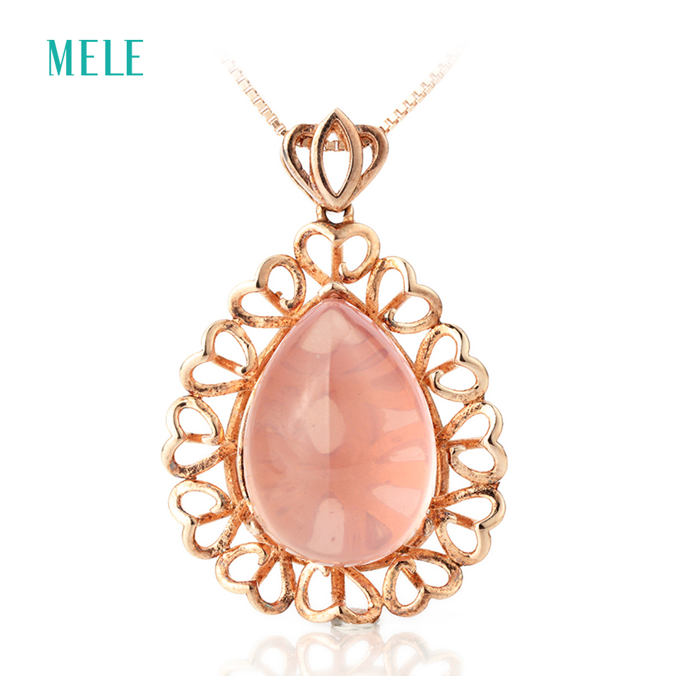 MELE Natual pink crystal silver pendant , pears 13mm*18mm, special design and special gift for Christmas eache suede design special