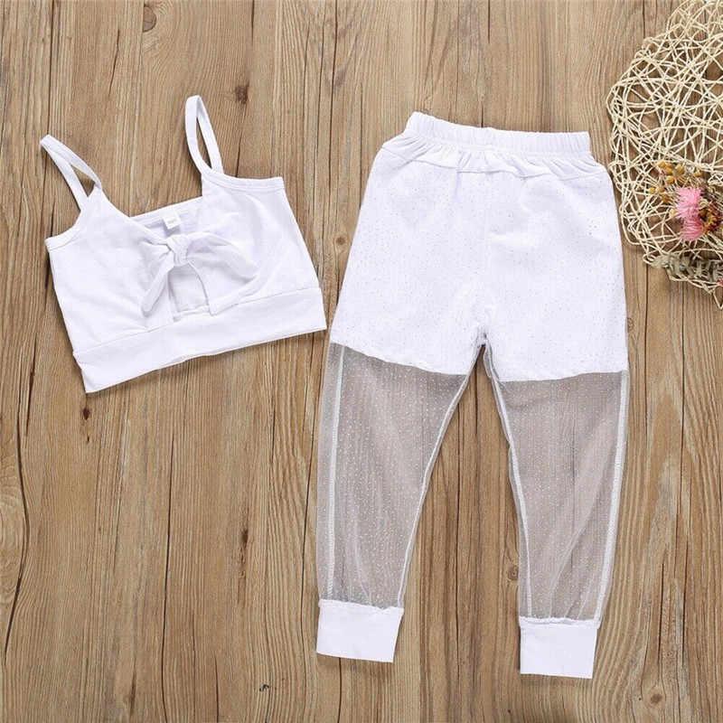 เสื้อผ้าเด็กทารกเสื้อผ้า 2-7Y ชุดแฟชั่นแขนกุดเสื้อกั๊ก Crop Top กางเกงยาวตาข่าย Pacthwork กางเกงดินสอ 2 ชิ้นชุด