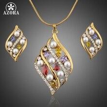 AZORA Increíble Plateó Stellux de Cristal Austriaco Stud Pendientes y Colgante Collar TG0016