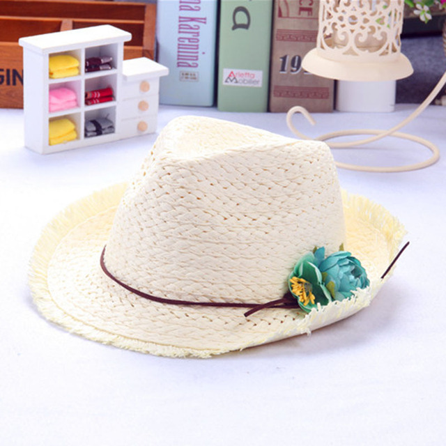 3024b4b0346 children babys boys and girls new sun hat beach double color child hat  summer Hand weave broken edges jazz hat lm15
