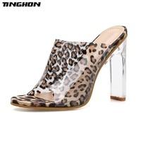 2ab8b9d9fd TINGHON Women Classic PU Ladies Slipper Clear Leopard Grain Transparent  Square Clear Glass Heel Round Toe