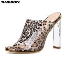 TINGHON Women Classic PU Ladies Slipper Clear Leopard Grain Transparent Square Glass Heel Round Toe Party Dance 35-40