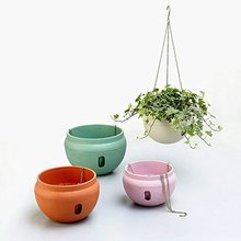 Mkono Hanging Basket Hanging Planter Plant Pot Garden Flower Pots Plastic Flowerpots with Metal Chain, Bowl Shape