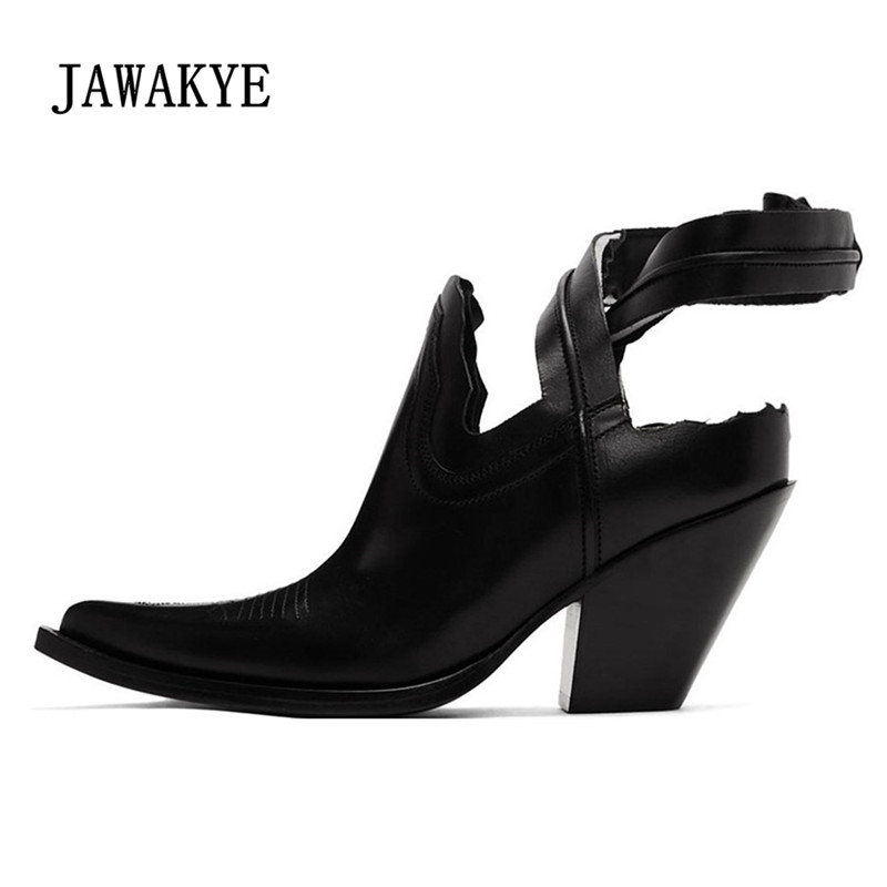 Punk Style Wrist Band Ankle Boots Summer High Street Fashion Cowboy Ankle Boots Pointed Toe Leather