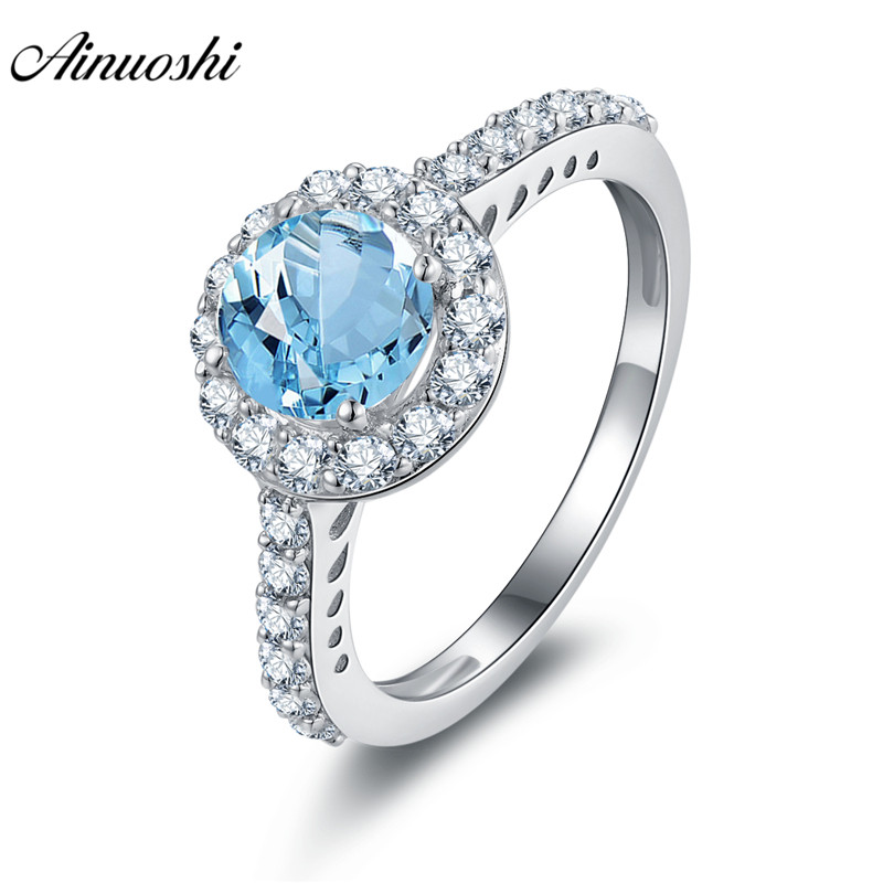 AINUOSHI Natural Blue Topaz Halo Ring Engagement Wedding Ring 0.8ct Round Cut Gemstone 925 Sterling Silver Jewelry Women RingAINUOSHI Natural Blue Topaz Halo Ring Engagement Wedding Ring 0.8ct Round Cut Gemstone 925 Sterling Silver Jewelry Women Ring