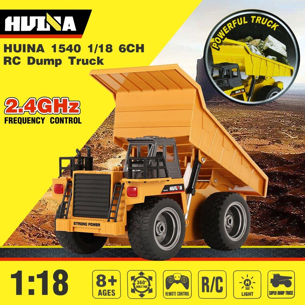 D'origine RC camion à benne 1/18 2.4G 6CH Alliage 360 Degrés Rotation pelle de chantier véhicule de chantier Jouets Cadeau HUINA 1540