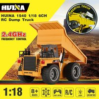 Original RC Dump Truck 1/18 2.4G 6CH Alloy 360 Degree Rotation Construction Excavator Engineering Vehicle Toys Gift HUINA 1540