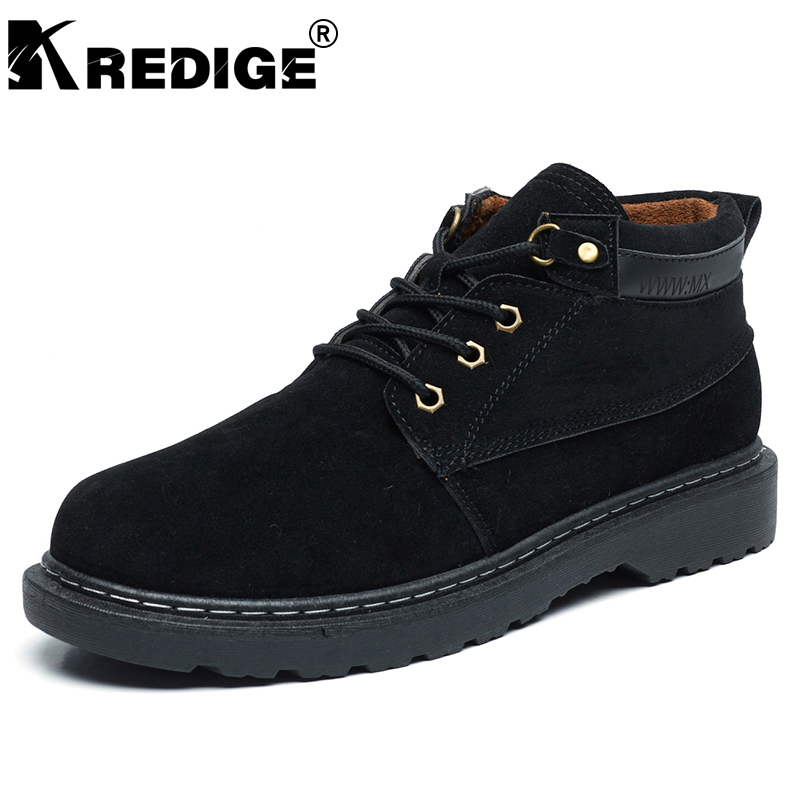 KREDIGE British Winter Warm Martin Boots Mens Anti-Skid Height Soles Suede Lace-Up Shoes Hard-Wearing Deodorant Male Shoes 39-44