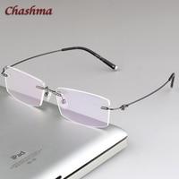 Chashma Rimless Glasses Frame Men Eye Frames gafas graduadas specs Light Eyeglass Titanium Gold Spectacles for Diopter Women