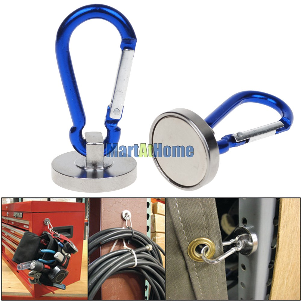 2PCS/lot Supper Magnetic Carabiner Hook 35 LBS For Home, Garage Tool, Room, Construction Works Free Shipping #BK022 @CF