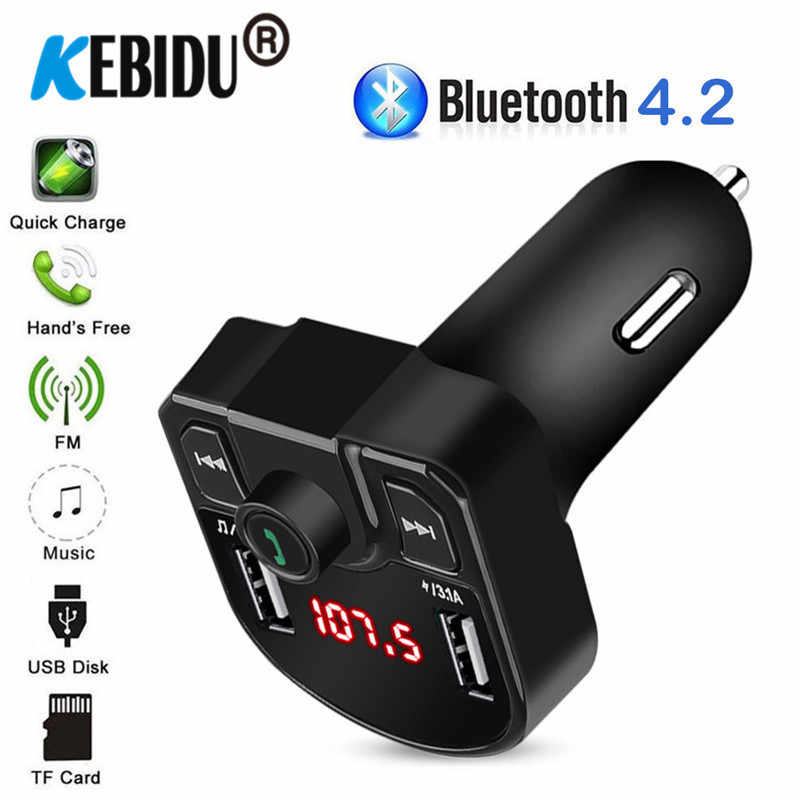 Promosi!!! 3.1A Bluetooth FM Transmitter Handsfree Mobil Kit Dual USB Charger Penerima Audio Nirkabel TF Kartu Musik Player