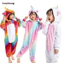Кигуруми пижамы для детей девочек Единорог аниме панда Onesie детский костюм  мальчик пижамы одеяло комбинезон для 24f553759a4fa