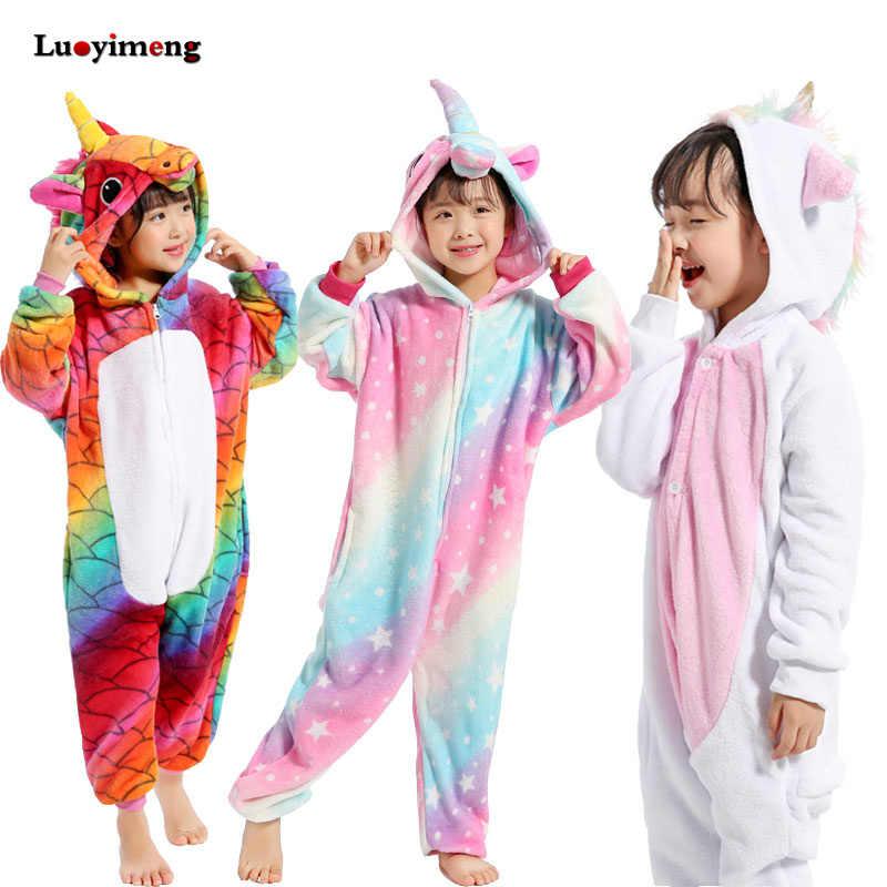 Кигуруми пижамы для детей девочек Единорог аниме панда Onesie детский  костюм мальчик пижамы одеяло комбинезон для 8d99724697a94