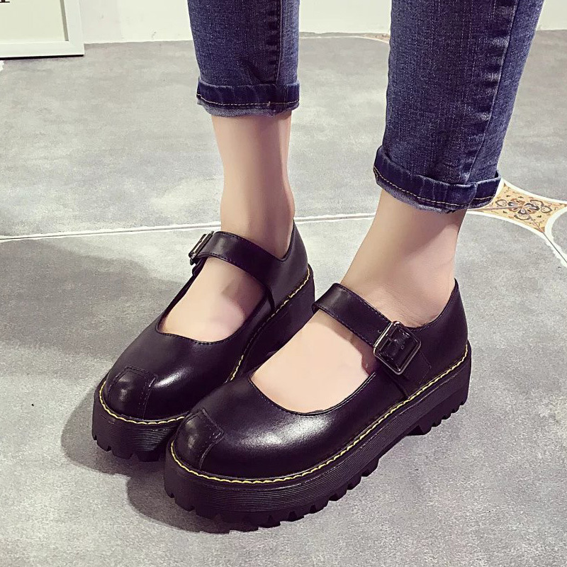 Round Toe Women Creepers Pu Women Flats Platform Mary Jane Ankle Strap Casual Ladies Loafers Shoes Summer Style Plus Size US 8 gladiator sandals 2017 summer style comfort flats casual creepers platform pu shoes woman casual beach black sandals plus us 8