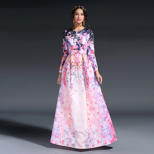 2417c71407 US $72.99 |HIGH QUALITY New 2016 Designer Runway Maxi Dress Women's Long  Sleeve Sweet Floral Printed Celebrity Party Ball Gown Long Dress-in Dresses  ...