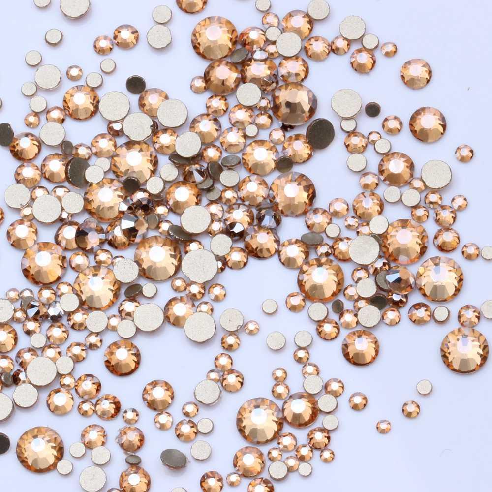 แชมเปญสีทองหลายขนาดไม่ใช่โปรแกรมแก้ไขด่วนด้านล่างคริสตัล Rhinestones กาวแก้วสำหรับชุดแต่งงาน DIY ตกแต่งเล็บ