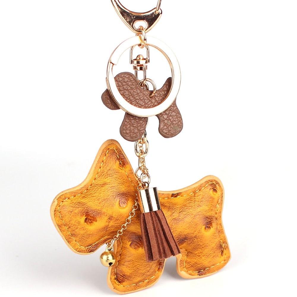 Mångfärgad söt PU läder hund nyckelring för nycklar djur nyckelring bil nyckelring nyckel hållare kvinnor väska charm hänge