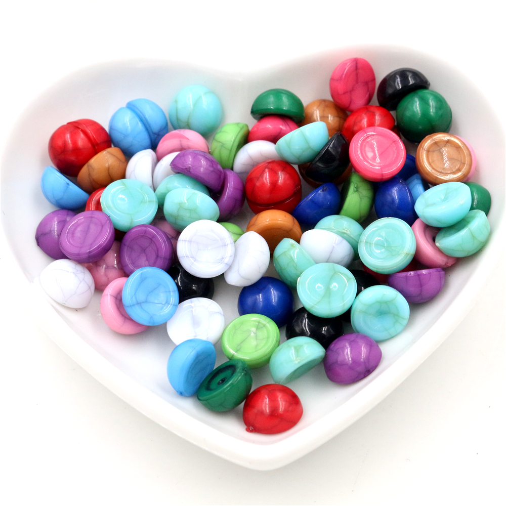 40pcs/lot 8mm 10mm Mix Crack Colors Natural Cracked Style Flat Back Resin Cabochons For Bracelet Earrings Accessories