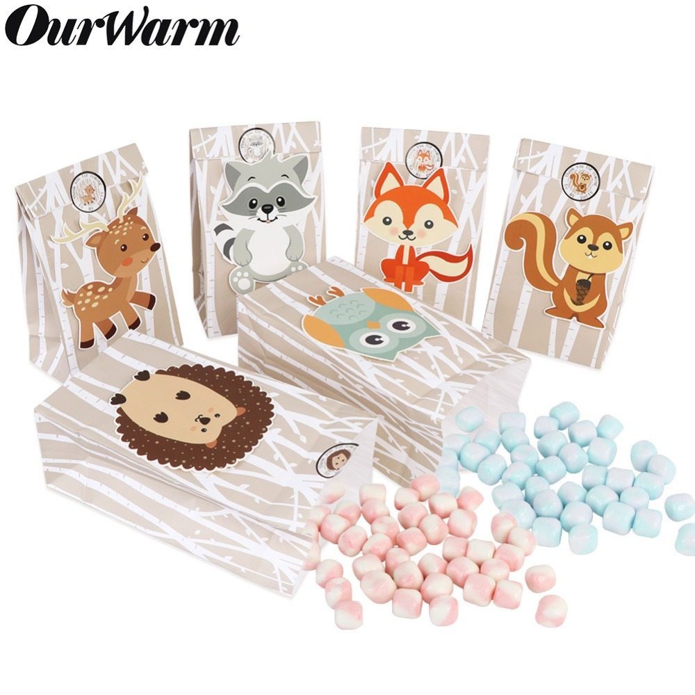OurWarm 60/24Pcs Woodland Creatures Favor Bags Safari Animals Baby Shower Candy Treat Gift Bags Jungle Birthday Party Decoration