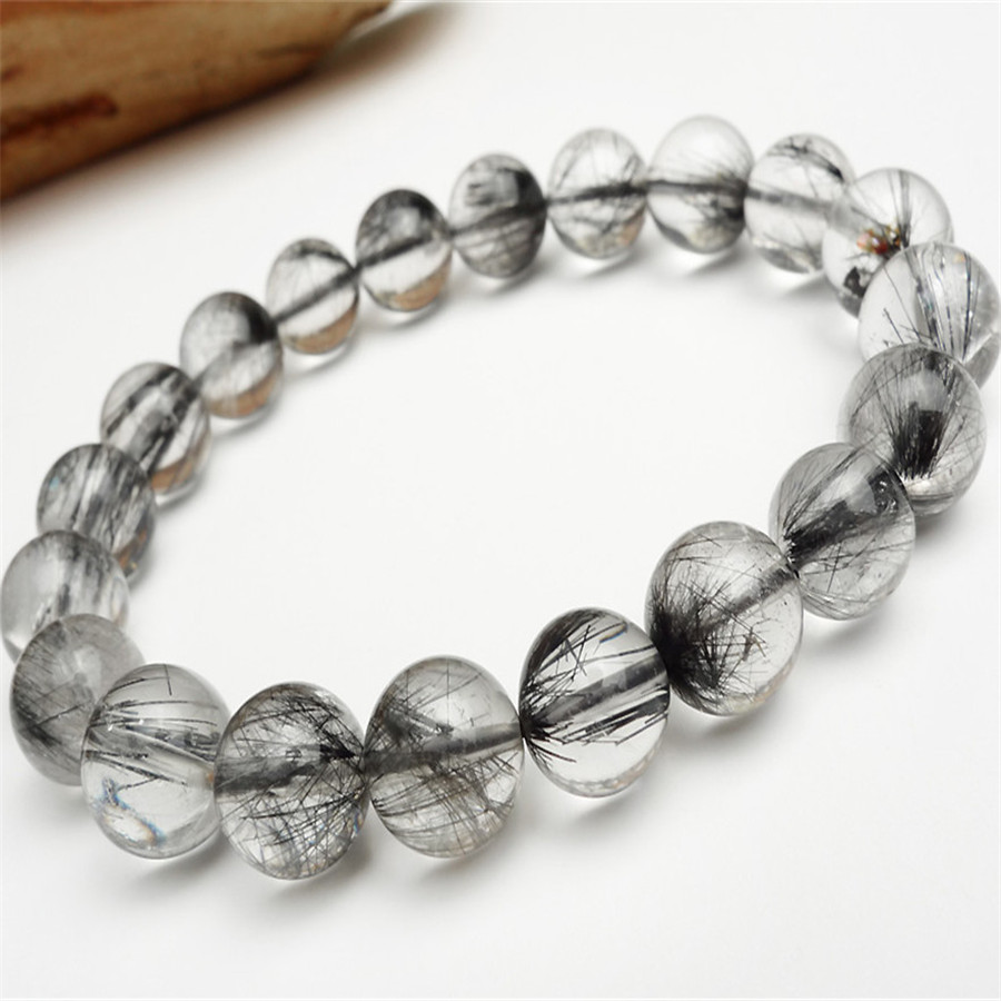 Drop Shipping 9mm Natural Grey Needle Hair Black Rutilated Quartz Crystal Round Beads Stretch Bracelets For Women 7mm genuine natural grey needle hair rutilated quartz bracelets for women charm stretch transparent round crystal beads bracelet