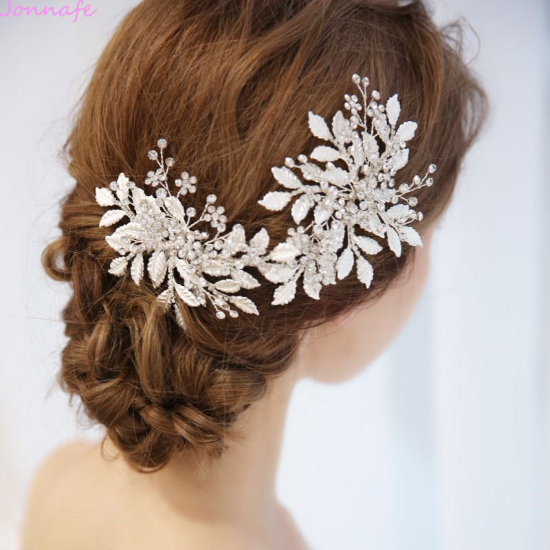 Jonnafe Charming Silver Leaf Hair Piece Bridal Vine Tiara Crystal Wedding Accessories Hair Crown Women Jewelry