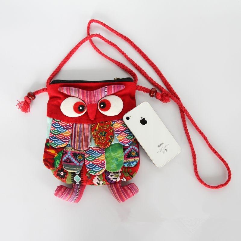 Yunnan Ethnic Handicraft Fabric Patchwork Cat Bag Owl Bag Large Feather Bag Shoulder Bag Mobile Phone Bag
