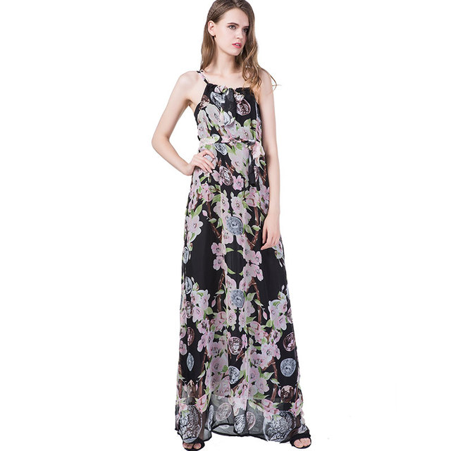 e0f03be214 Plus Size Women Chiffon Print Dress Summer Sexy Sling Extended Dresses 2018  New Female Bohemia Elegant Lacing Waist Vestidos 573