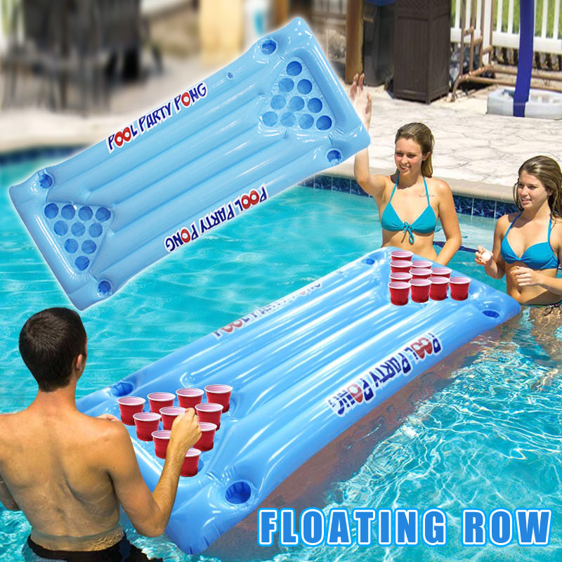 PVC Inflatable Beer Pong Table Mattress Lounge Pool Float 24 Cup Holder For Summer UD88