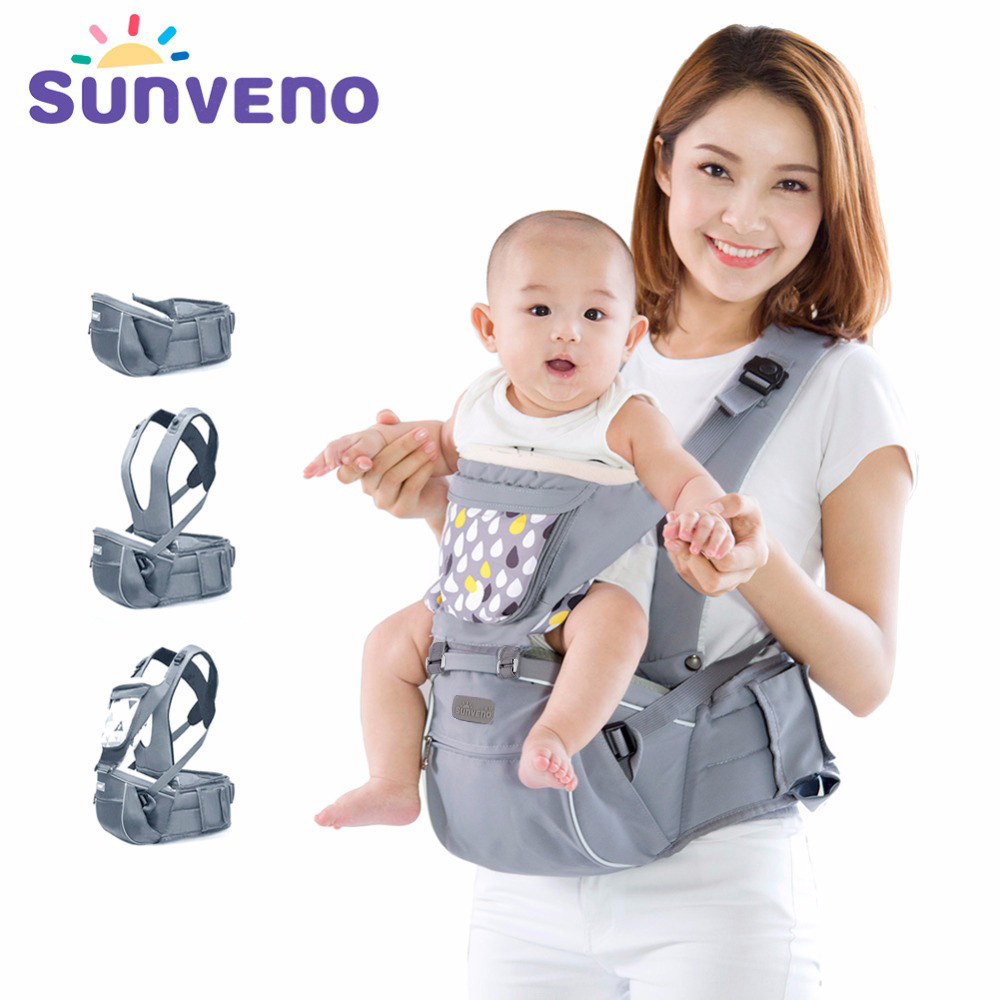 SUNVENO New Design Infant Toddler Ergonomic Baby Carrier with Hipseat For Baby Infant Toddler Kids 0