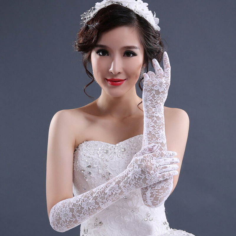 Buy fashion white long lace bridal gloves for Wedding dress with long gloves