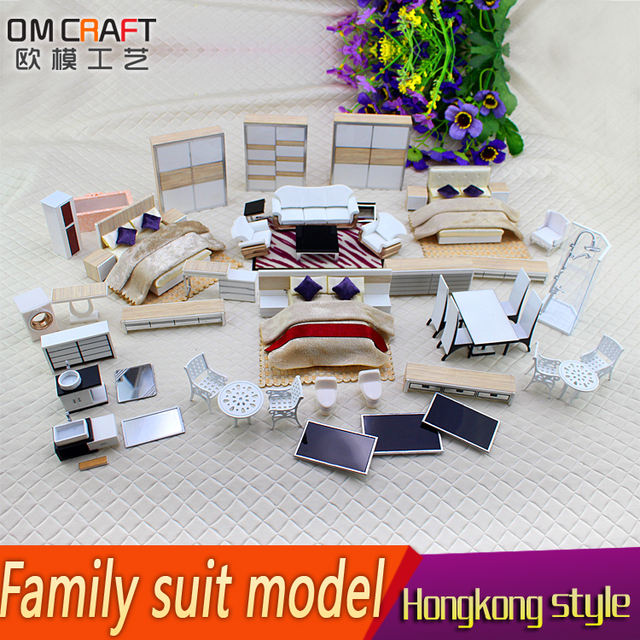 1:25 Freeshipping Dollhouse Miniature Hongkong Style Small Family Suit  Model Kid Craft Homework Material