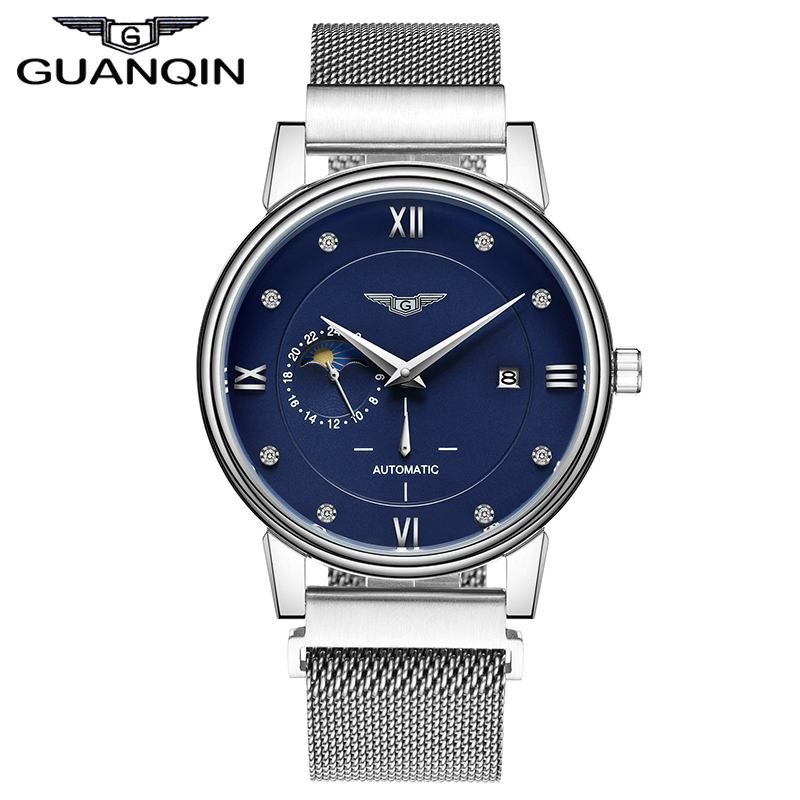 GUANQIN GJ16039 brand simple fashion Mechanical Watches Men stainless Steel mesh Strap band Automatic luxury mens Watch luxury watches seiko automatic movement binger men fashion mechanical watch full blue stainless steel mesh band clock 2017