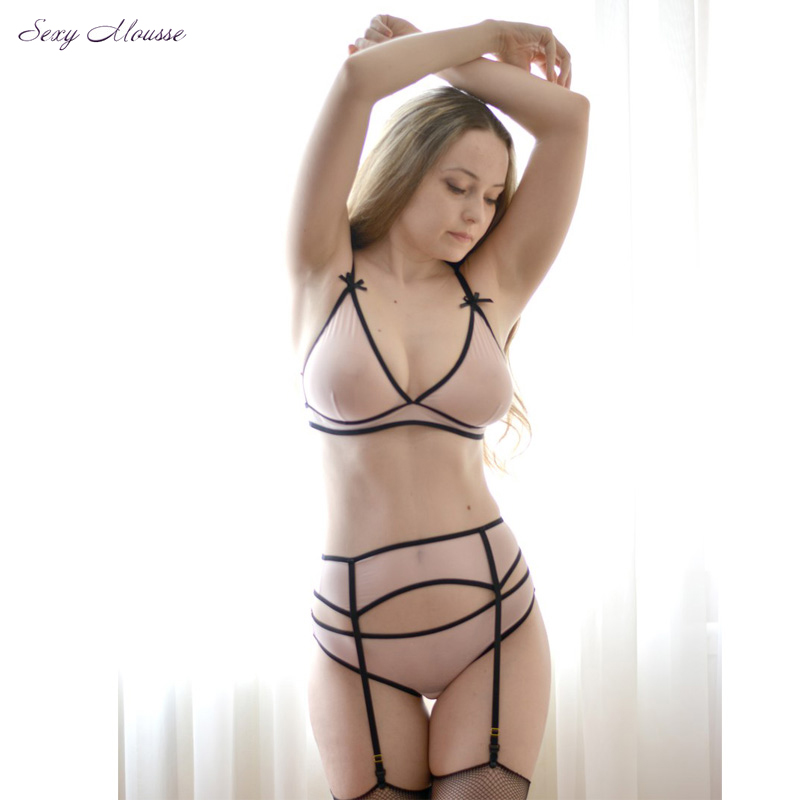 Sexy mousse Mesh   Bra     Set   with Garter Belt 3 pieces Sexy Lingerie Soft Cup Bralette Crotchless Panty See Through Sleepwear