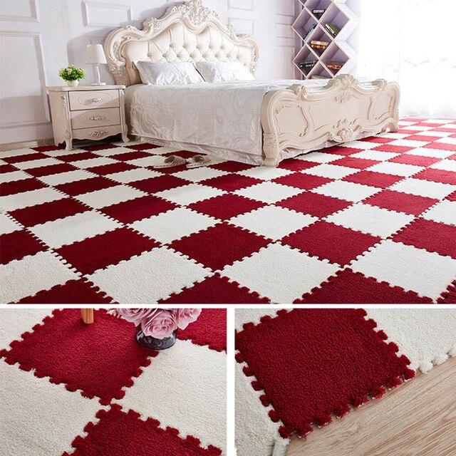 10 sztuk/1 zestaw 30*30*1cm EVA pluszowe Puzzle zagraj maty piankowe Shaggy aksamitny dywan dekoracyjne pokój dla dzieci do indeksowania zabawki 9-kolory