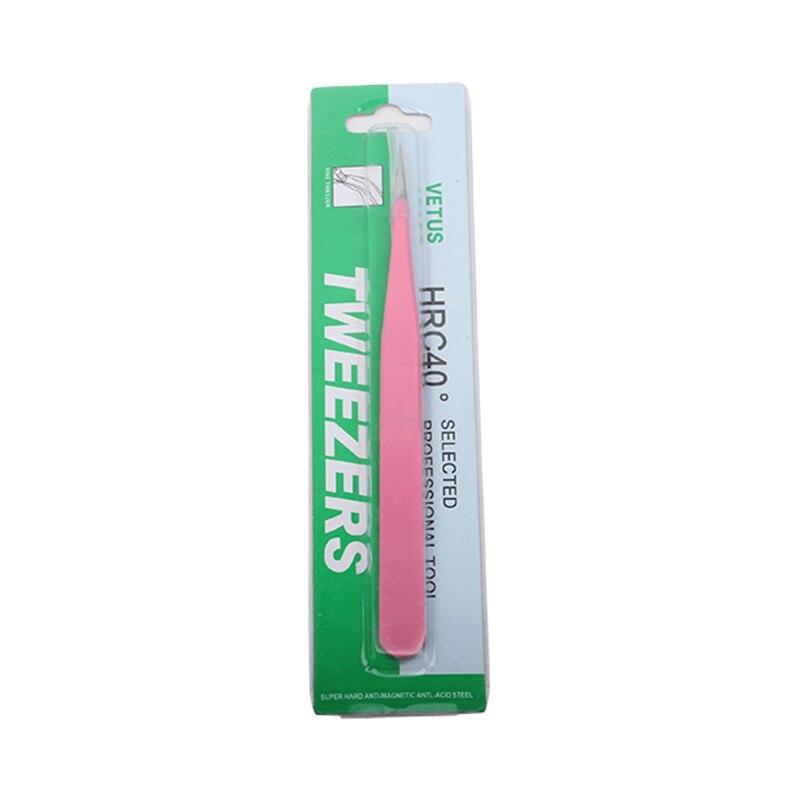 Розовый Пинцет для ресниц из нержавеющей стали, Прямой пинцет для наращивания ресниц, пинцет для ногтей, качественный Пинцет для объема ресниц