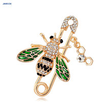 JAVRICK Rhinestone Bee Brooch Fashion Enamel For Clothing Backpack Frog Pin Strawberry Feather Brooch Creative Corsage Badge(China)
