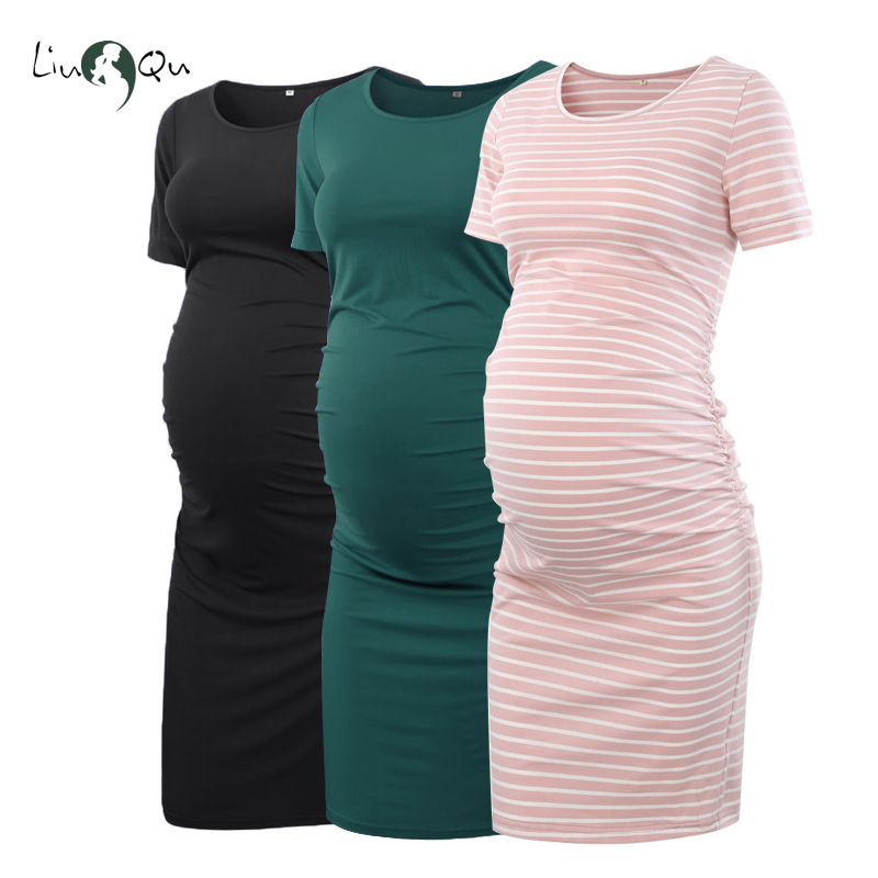 Pack Of 3pcs Women's Side Ruched Maternity Clothes Bodycon Dress Mama Casual Short Sleeve Wrap Dresses Womens Clothing Plus Size(China)