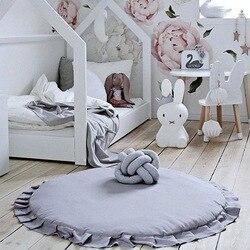 Runde Babyspielmatte Baumwolle Teppich Baby Spielzeug Nordic Decor Baby Fotografie Requisiten Zubehör Kinder Kinderzimmer Dekoration 105 cm