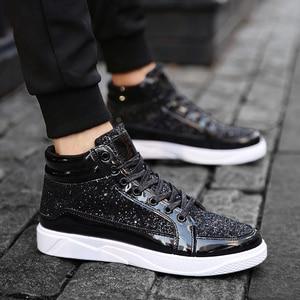 Image 3 - Мужские кроссовки с высоким берцем, удобные повседневные уличные кроссовки золотистого и серебряного цвета, 2019