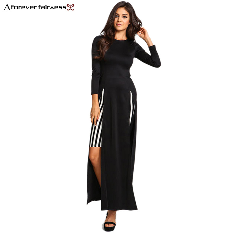A Forever Spring Women Dress Long Sleeve High Split Long Maxi Slim Dress Sexy Vestidos longo Club Party Dresses AFF465